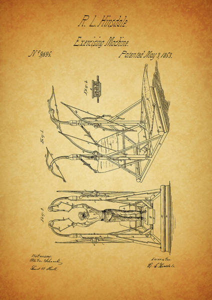 Fitness Mixed Media - 1853 Exercising Machine Patent by Dan Sproul