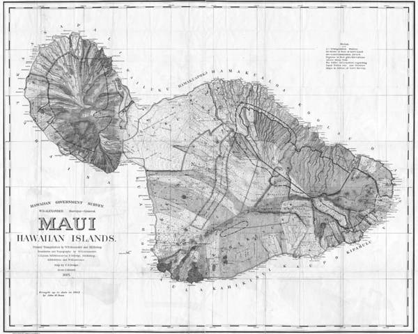 Wall Art - Digital Art - 1855 Government Survey Map Of Maui Hawaii Updated In 1903 Black And White by Toby McGuire