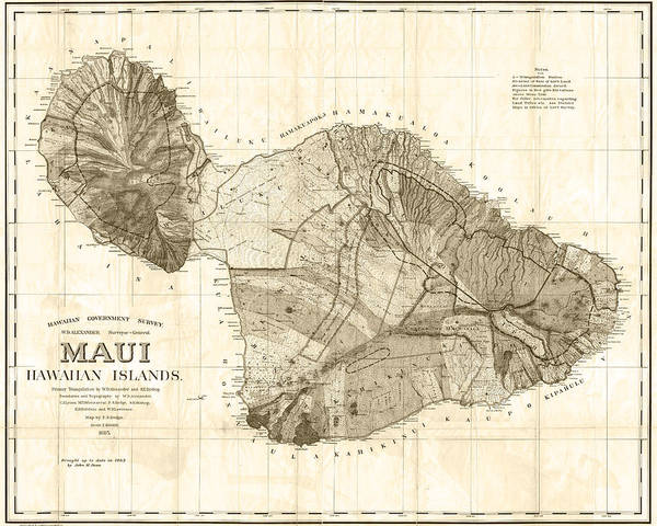 Wall Art - Digital Art - 1855 Government Survey Map Of Maui Hawaii Updated In 1903 Sepia by Toby McGuire