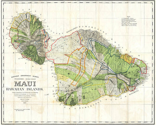 Wall Art - Digital Art - 1855 Government Survey Map Of Maui Hawaii Updated In 1903 by Toby McGuire