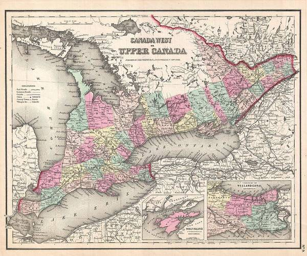 Painting - 1857 Colton Map Of Ontario Canada by Celestial Images