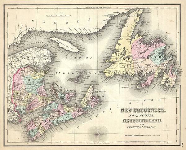 Painting - 1857 Map Of New Brunswick And Newfoundland Canada by Celestial Images