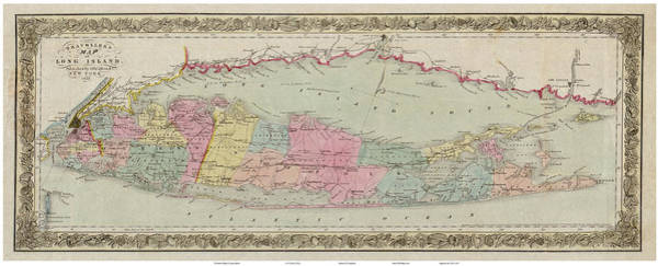 Painting - 1857 Travellers' Map Of Long Island by Celestial Images