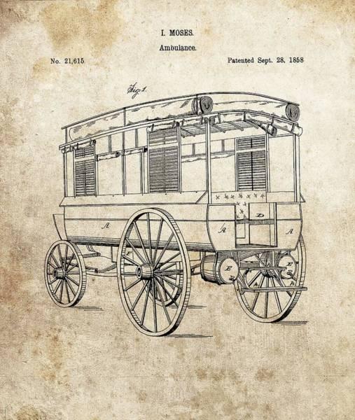 Drawing - 1858 Ambulance Patent by Dan Sproul
