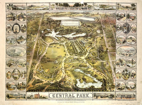 Photograph - New York 1863 Central Park Map by Paul W Faust - Impressions of Light