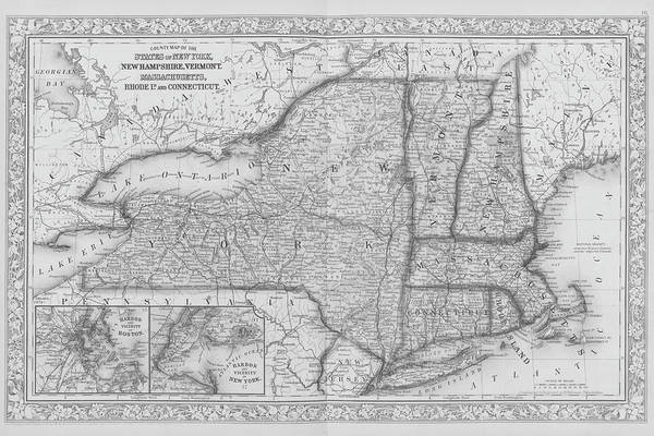 Digital Art - 1863 New England And New York Map Black And White by Toby McGuire