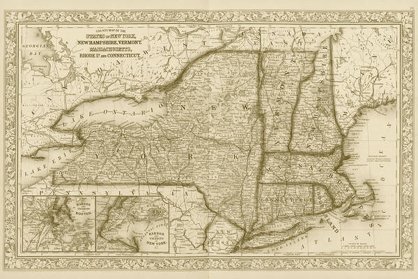 Digital Art - 1863 New England And New York Map Sepia by Toby McGuire