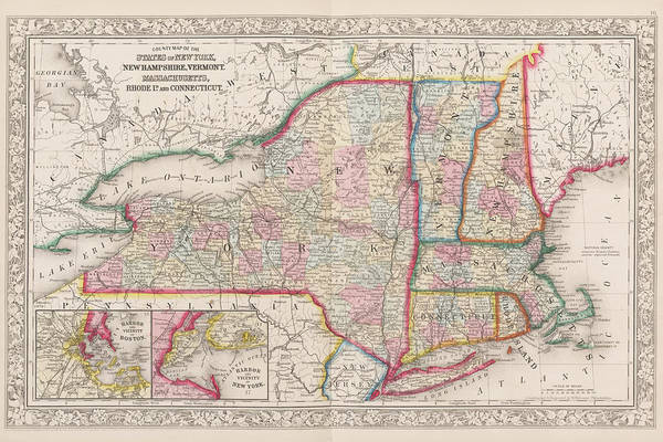 Digital Art - 1863 New England And New York Map by Toby McGuire