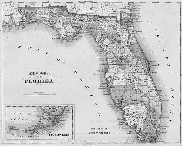 Photograph - 1864 Florida Map Black And White by Toby McGuire
