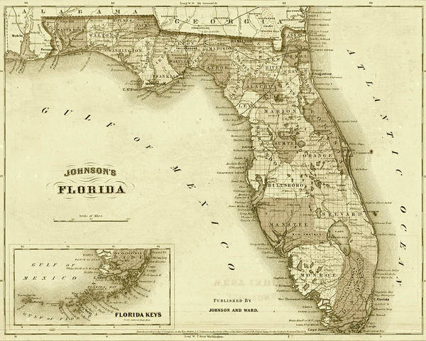 Photograph - 1864 Florida Map Sepia by Toby McGuire