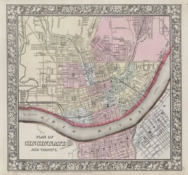 Painting - 1864 Mitchell Map Of Cincinnati. Ohio by Celestial Images