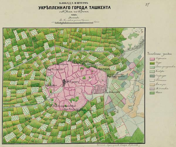 Painting - 1865 Birdview Map Of Taskent Uzbekistan by Celestial Images