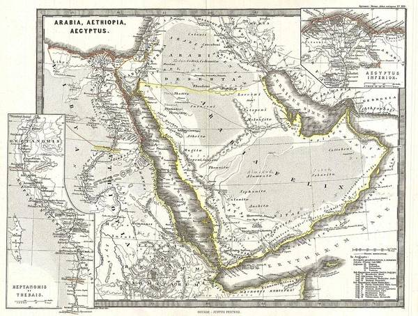 Painting - 1865 Map Of Arabia And Egypt In Antiquity by Celestial Images