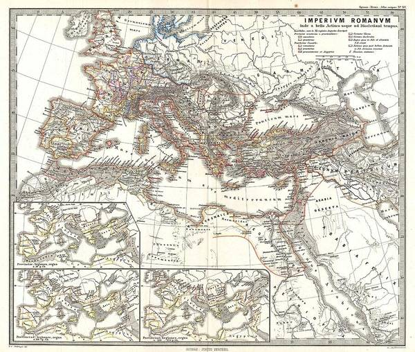 Painting - 1865 Map Of The Roman Empire Under Diocletian by Celestial Images