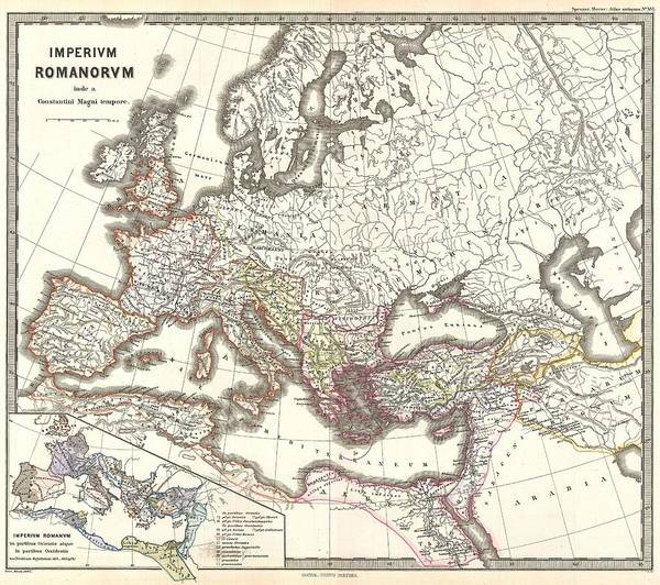 Painting - 1865 Map The Roman Empire Under Constantine by Celestial Images