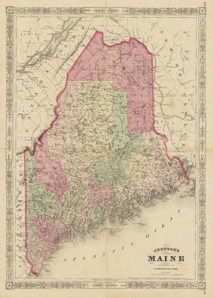 Digital Art - 1866 Maine Map Historical Map New England by Toby McGuire