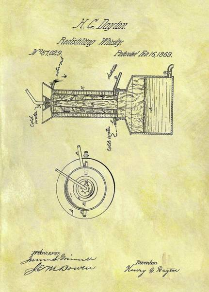 Beam Drawing - 1869 Whiskey Distillery Patent by Dan Sproul