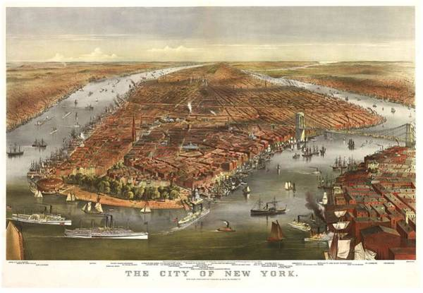 New York City Map Drawing - 1870 New York Map by Dan Sproul