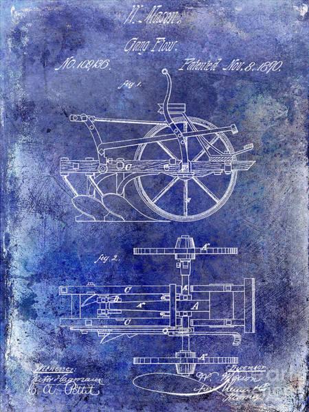 Plow Photograph - 1870 Plow Patent Blue by Jon Neidert