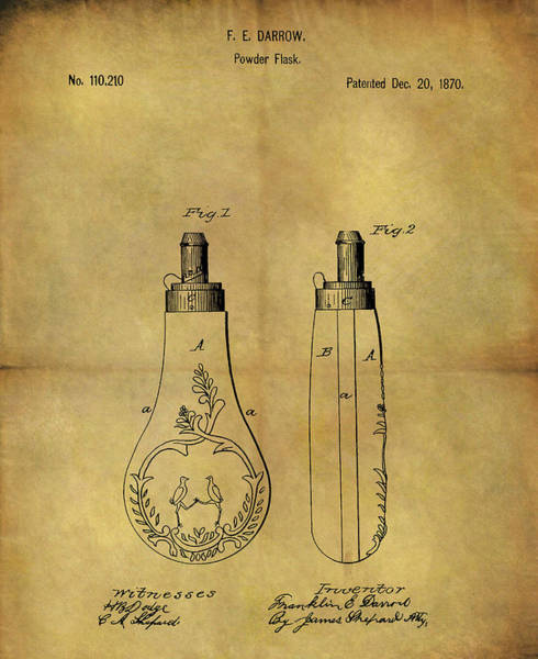 Drawing - 1870 Powder Flask Patent by Dan Sproul