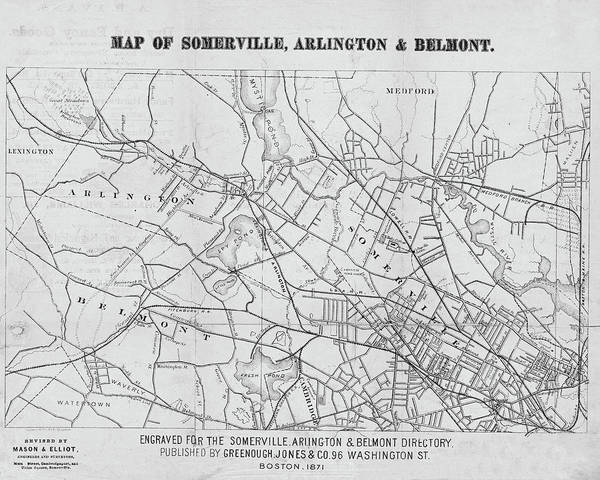 Digital Art - 1871 Somerville Arlington And Belmont Map Black And White by Toby McGuire