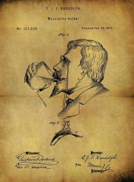 Moustache Mixed Media - 1872 Mustache Holder Patent by Dan Sproul