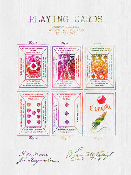 Playing Digital Art - 1873 Billings Playing Cards Patent - Color by Aged Pixel