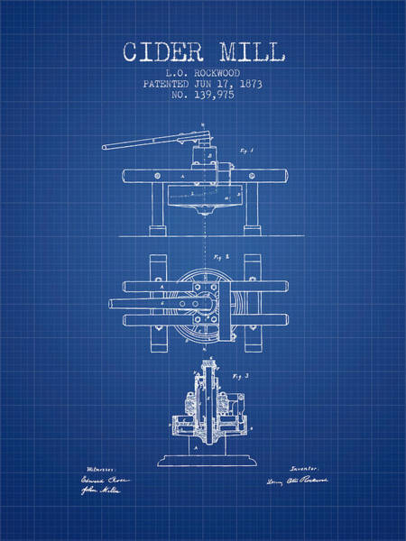 Wall Art - Digital Art - 1873 Cider Mill Patent - Blueprint by Aged Pixel