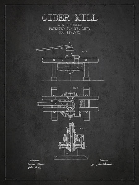 Wall Art - Digital Art - 1873 Cider Mill Patent - Charcoal by Aged Pixel