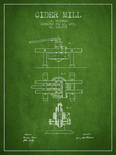 Wall Art - Digital Art - 1873 Cider Mill Patent - Green by Aged Pixel