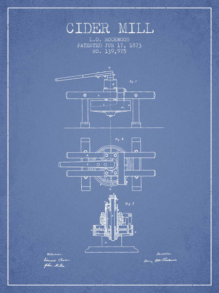 Wall Art - Digital Art - 1873 Cider Mill Patent - Light Blue by Aged Pixel