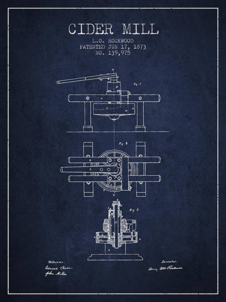 Wall Art - Digital Art - 1873 Cider Mill Patent - Navy Blue by Aged Pixel