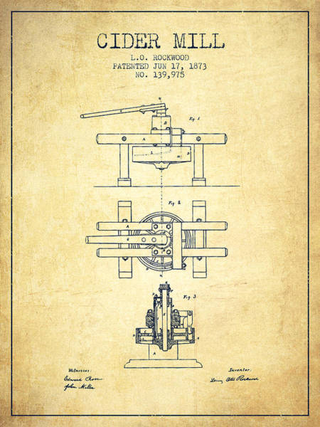 Wall Art - Digital Art - 1873 Cider Mill Patent - Vintage by Aged Pixel