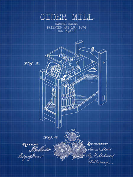 Wall Art - Digital Art - 1874 Cider Mill Patent - Blueprint 02 by Aged Pixel
