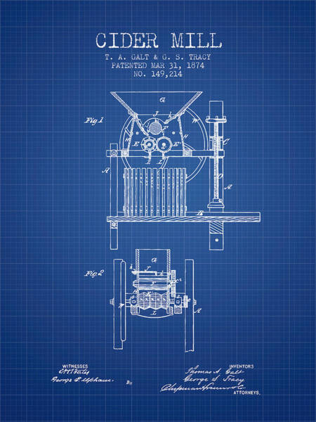 Wall Art - Digital Art - 1874 Cider Mill Patent - Blueprint by Aged Pixel