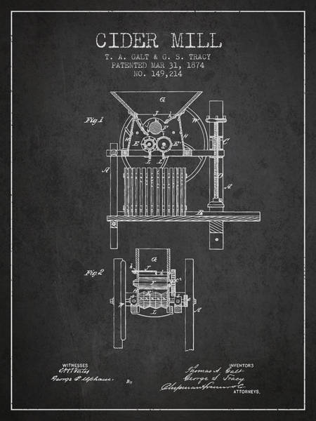 Wall Art - Digital Art - 1874 Cider Mill Patent - Charcoal by Aged Pixel