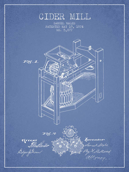 Wall Art - Digital Art - 1874 Cider Mill Patent - Light Blue 02 by Aged Pixel