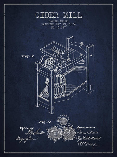 Wall Art - Digital Art - 1874 Cider Mill Patent - Navy Blue 02 by Aged Pixel