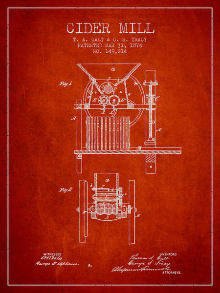 Wall Art - Digital Art - 1874 Cider Mill Patent - Red by Aged Pixel