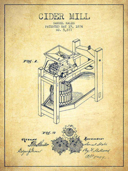 Wall Art - Digital Art - 1874 Cider Mill Patent - Vintage 02 by Aged Pixel
