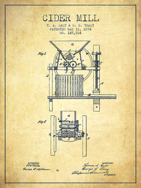 Wall Art - Digital Art - 1874 Cider Mill Patent - Vintage by Aged Pixel