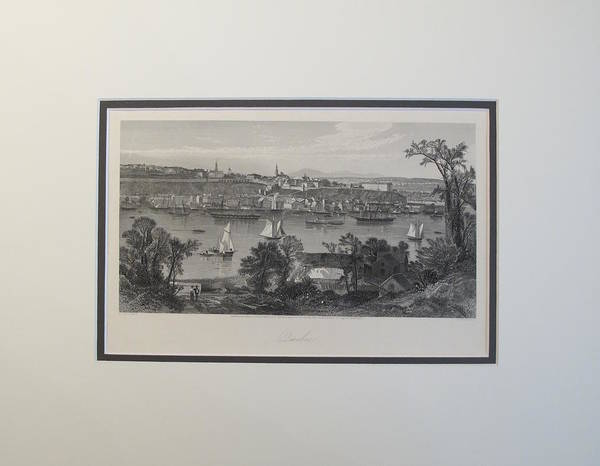 Quebec City Drawing - 1874 Engraving Of Quebec City Skyline by JD Woodward