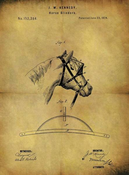 Drawing - 1874 Horse Blinder Patent by Dan Sproul