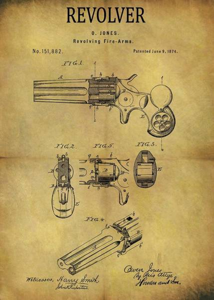 Drawing - 1874 Revolver Patent by Dan Sproul