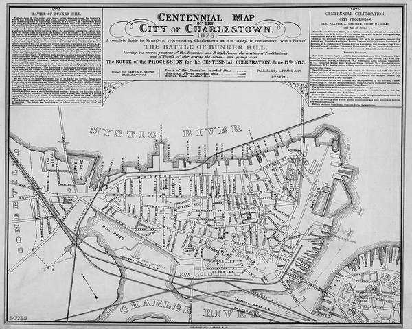 1875 Digital Art - 1875 Centennial Charlestown Map Charlestown Ma Black And White by Toby McGuire