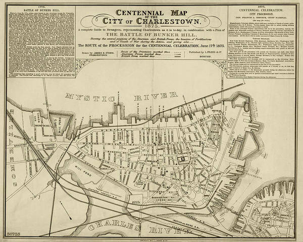 1875 Digital Art - 1875 Centennial Charlestown Map Charlestown Ma Sepia by Toby McGuire