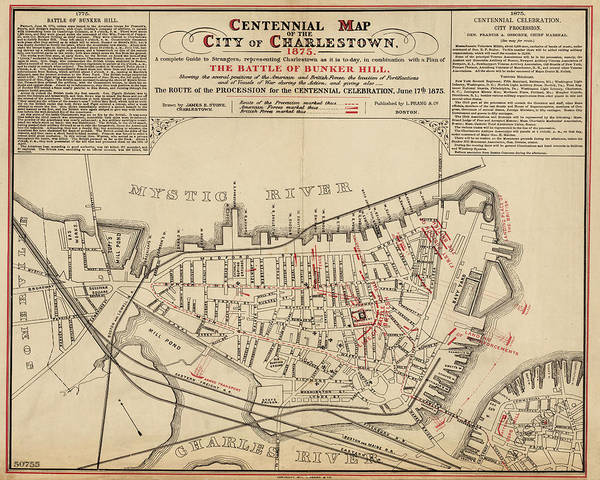 1875 Digital Art - 1875 Centennial Charlestown Map Charlestown Ma by Toby McGuire