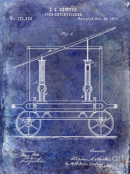 Fire Truck Photograph - 1875 Fire Extinguisher Patent Blue by Jon Neidert