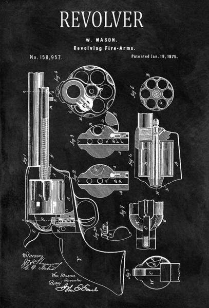 Drawing - 1875 Revolver Gun Patent by Dan Sproul