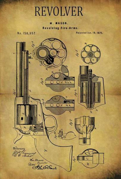 Drawing - 1875 Revolver Patent by Dan Sproul